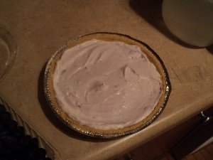 Pour into premade graham cracker pie shell and even the filling.